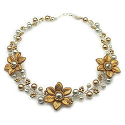 Gold Silver Flowers Necklace - Nurit Niskala