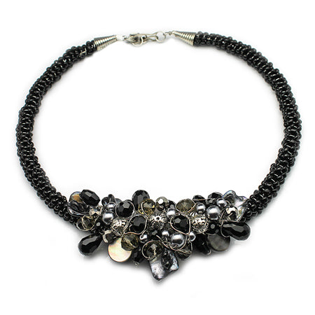 Black Grey Beaded Necklace - Nurit Niskala