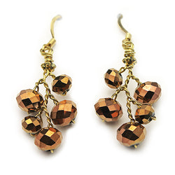 Sparkly Brown Crystal Earrings - Nurit Niskala