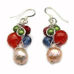 Red Green Blue & White Earrings - Nurit Niskala