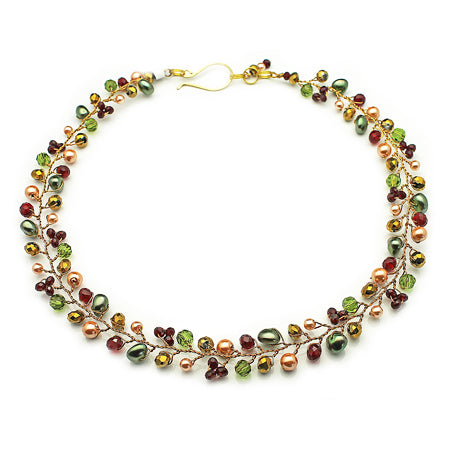 Red Green Necklace in gold - Nurit Niskala