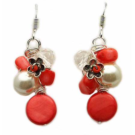 Coral Flowers Earrings - Nurit Niskala