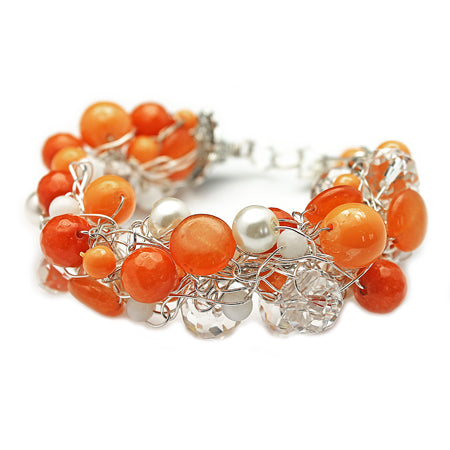 Tangerine Orange Crochet Bracelet - Nurit Niskala