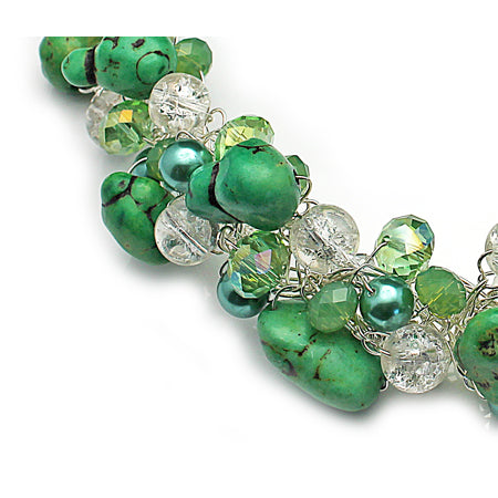 Green Stone Crochet Necklace - Nurit Niskala