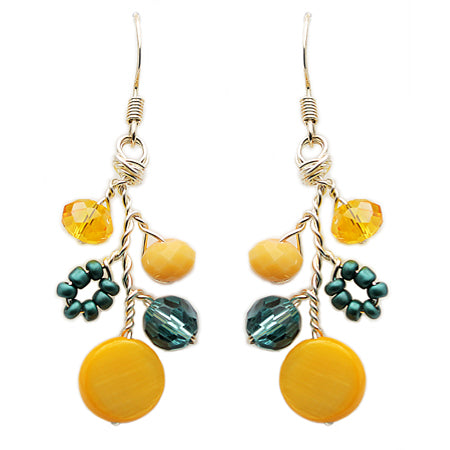 Teal Yellow Earrings - Nurit Niskala