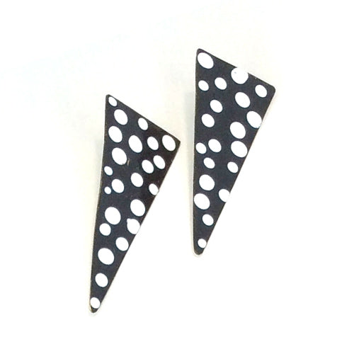 Polka Dot Black and White Enamel Long Stud Earrings