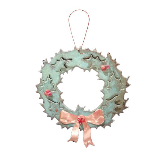 Wreath Christmas Copper Ornament*
