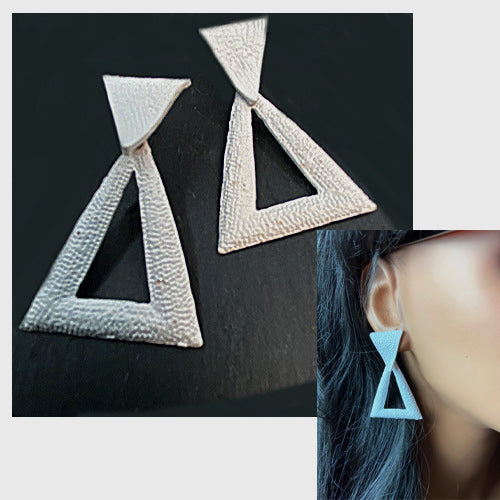 Geometric Bright White Earrings - Nurit Niskala