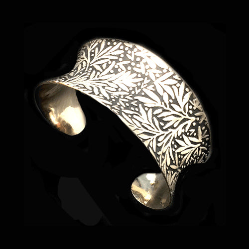 Organic Shaped Silver Open Cuff Bracelet *