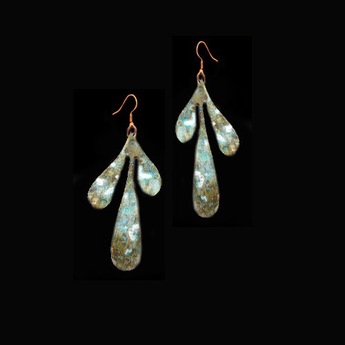 Patina Brass Medium Boho Leaf Earrings*