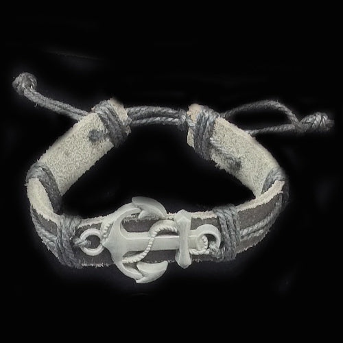 Slide Note Brown Leather Anchor Wristband For Dad. - Nurit Niskala