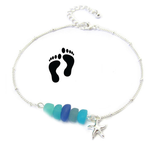 Multi Colors Starfish Seaglass Anklet