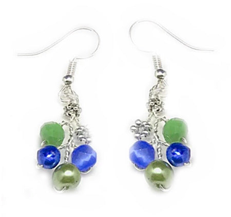 Blue Cat Eyes Green Earrings - Nurit Niskala