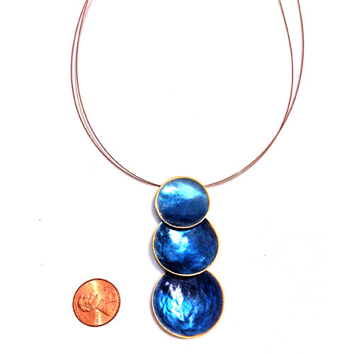 Blue Three Circles Necklace