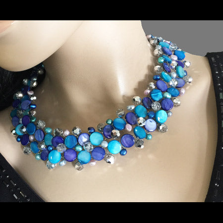 Blue Weaving Necklace - Nurit Niskala