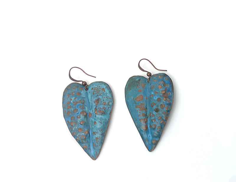 Lapis Patina Heart Leaves Earrings - Nurit Niskala