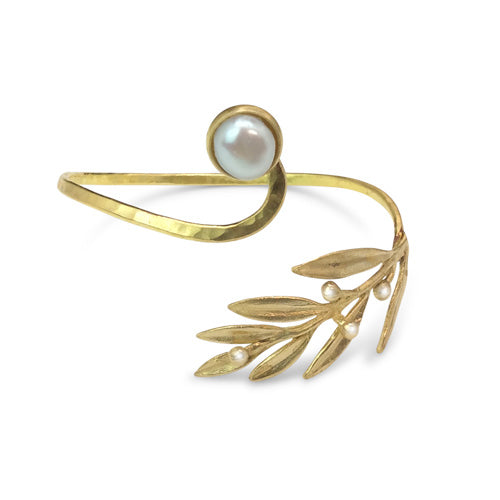 Bronze Pearl Leaves Bracelet - Nurit Niskala
