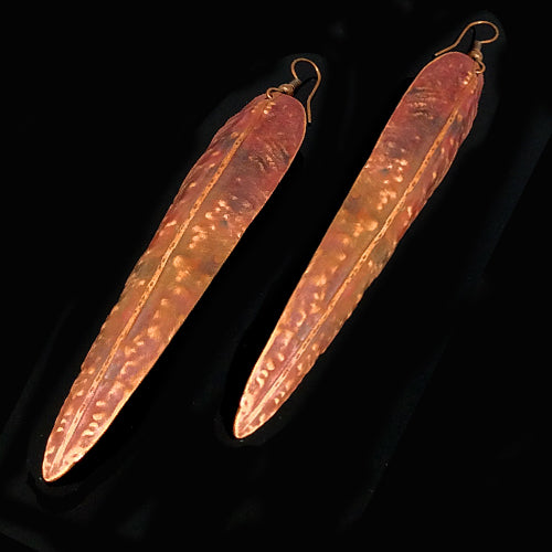 Long Brown/Red Copper Patina Earrings - Nurit Niskala