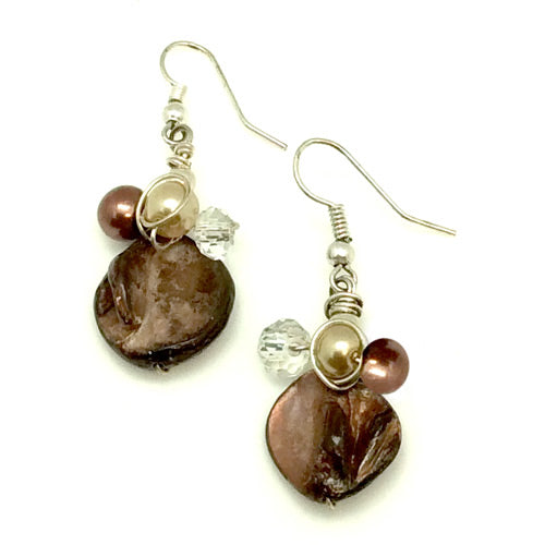 Dark Brown Mother of Pearl Earrings - Nurit Niskala