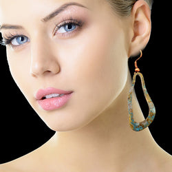 Patina Brass Boho Wavy Oval Earrings*