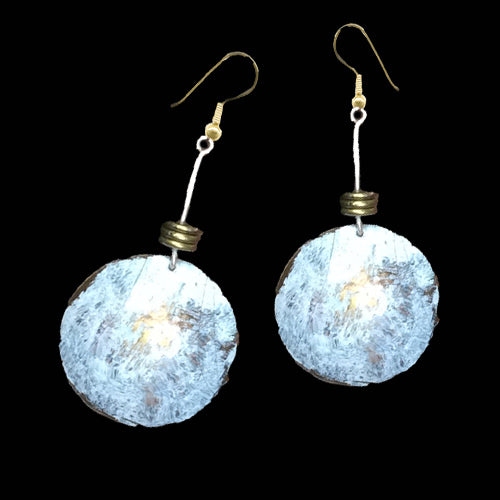 Concave White Brass Patina Earrings - Nurit Niskala
