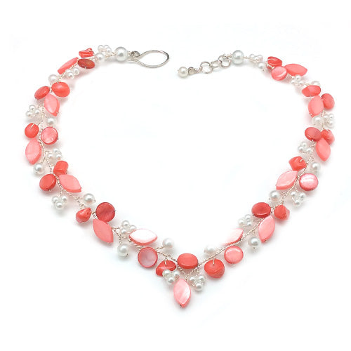 Coral & White V Necklace