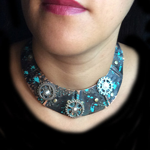 Steampunk Patina Copper Choker