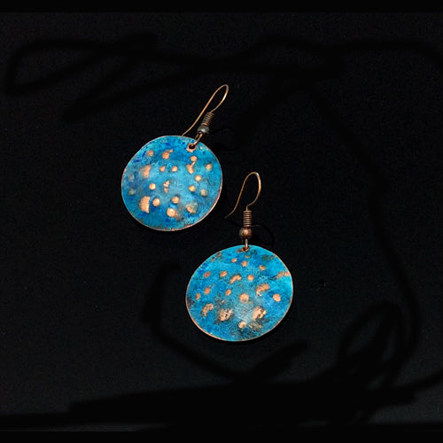 Denim Patina Round Earrings - Nurit Niskala
