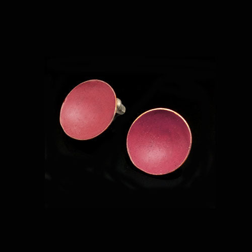 Dark Coral Circle Copper Earrings - Nurit Niskala