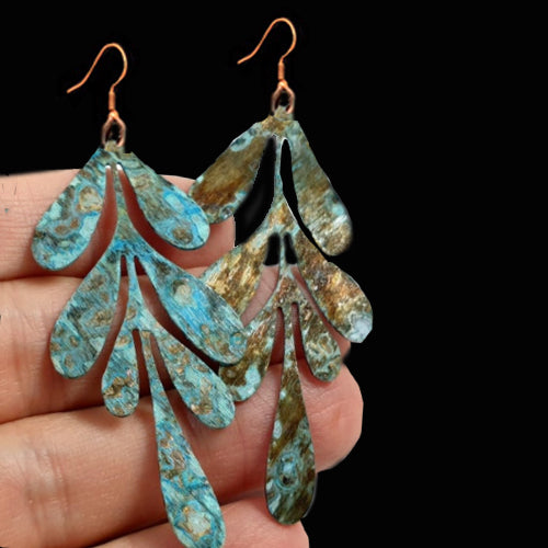 Patina Brass Boho Leaf Earrings*