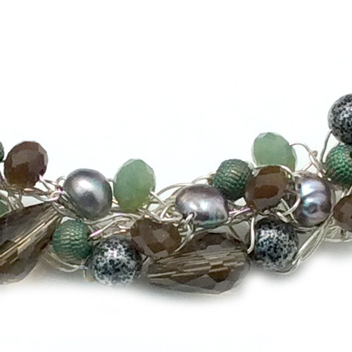 Smoky Grey, Green and Freshwater Pearl Crochet Necklace*