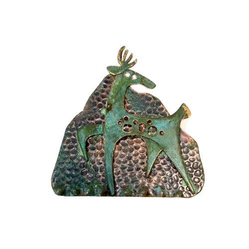 Patina Deer Brooch*