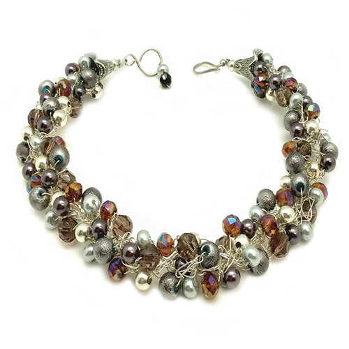 Eggplant Grey Statement Necklace - Nurit Niskala