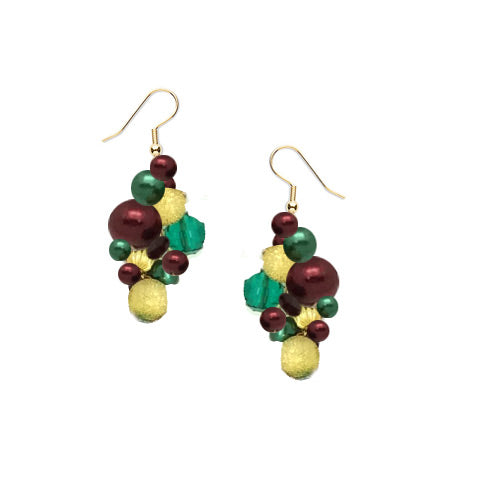 Holiday Green Red Gold Earrings*