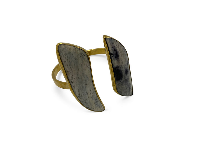 Bronze Grey Blk Bone Cuff - Nurit Niskala