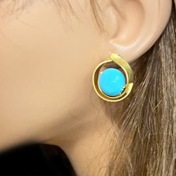 Gold Turquoise Stud Earrings*