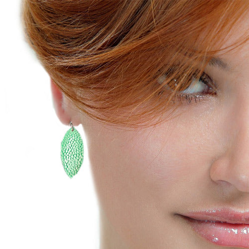 Green Fish Leather Earrings - Nurit Niskala