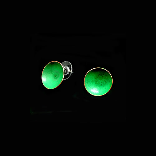 Green Circle Copper Earrings - Nurit Niskala