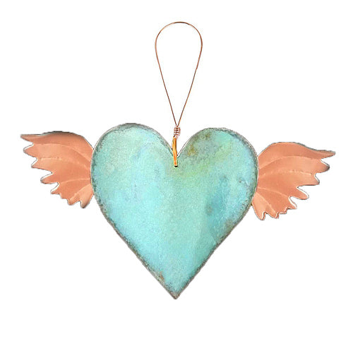 Wings Heart Copper Ornament