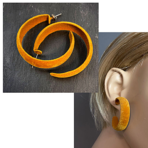 Honey Mustard Loop Velvet Earrings - Nurit Niskala