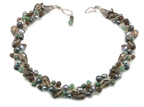 Smoky with greens and FWP crochet necklace