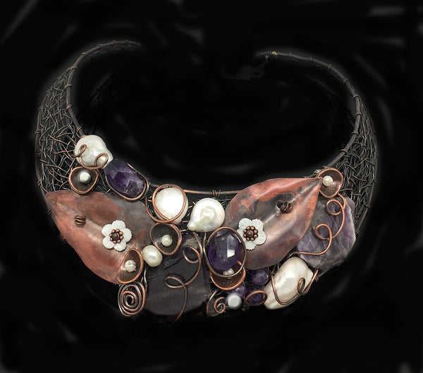 Genuine Amethyst Weaving Copper Choker - Nurit Niskala