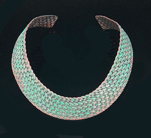 Light Sage Copper Weaving Choker - Nurit Niskala