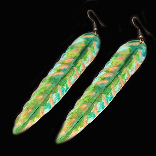Green/White Copper Patina Earrings - Nurit Niskala