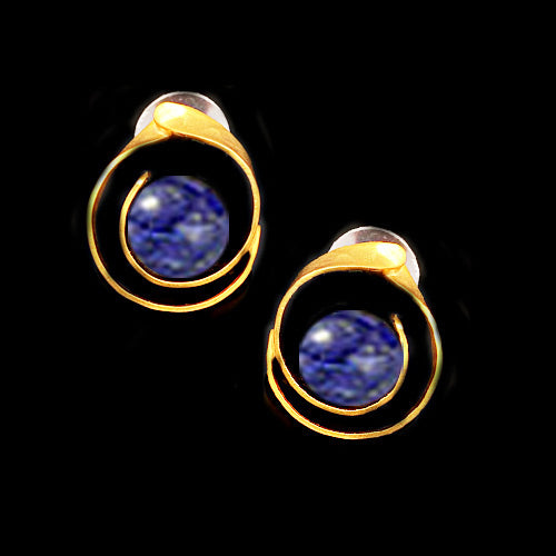 Gold Lapis Stud Earrings