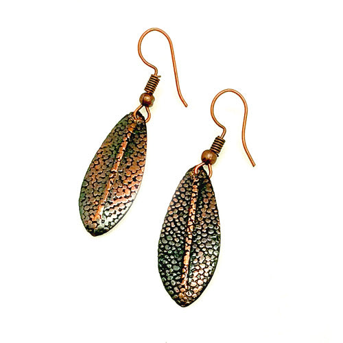 Small Oxidized Copper Earrings - Nurit Niskala