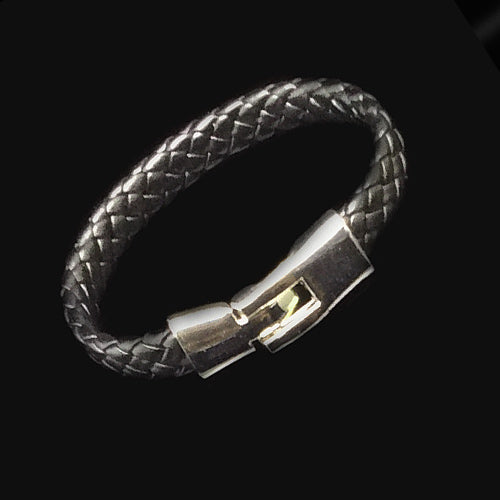 Black Leather Wristband For Dad. - Nurit Niskala