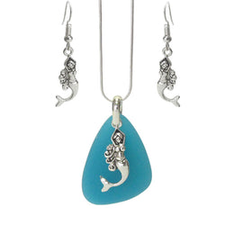 Merimaid Seaglass Necklace+Earrings Set