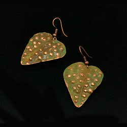 Sage Green Patina Leaves earrings - Nurit Niskala