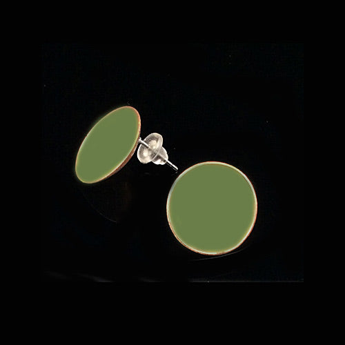 Olive Circle Copper Earrings - Nurit Niskala